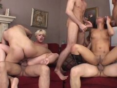 Sizzling gang bang with two sweet babes