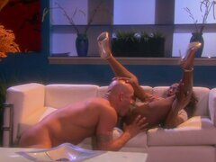 Busty black chick Jada Fire rides a stiff and ardent dick