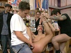 Busty Babe IS Gangbanged And Submitted Into BDSM In A A Public Library