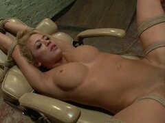 Blonde tied girl with gag in her mouth get fuckde harshly