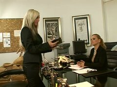 Adriana Russo and Dorothy Black play lesbian games in an office