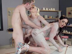 Busty pornstars get dirty with clay and have threesome