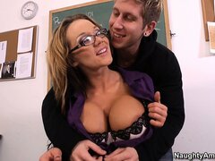 Busty teacher Nikki Sexx gives a private lesson to one of her students