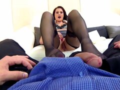 Stockings are sexy on footjob talent