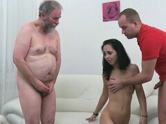 Tracy wraps her lips around another dick while the older guy fucks her snatch