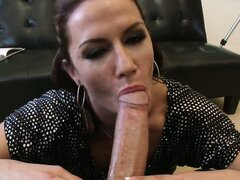 Brunette with fine ass sucks his large rod...