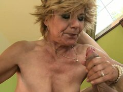 Hot grandma gets her hairy muff creamed by a young hard cock