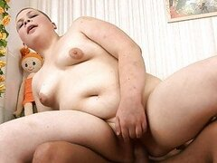 Sexy russian chubby teen jumping on a big penis