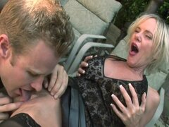 No sound: Hot Blonde Granny Cougar Does Pool Boy