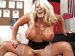Alura Janson rides on the huge cock. Hot video
