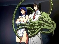 Busty hentai caught and drilled by furry anime tentacles