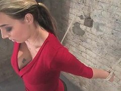 Blonde Babe Is Tied Up To A Wall As She Gets Masturbated