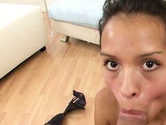 Cute jade Jessica Albarez learns pretty fast when the subject under scrutiny is a thick prick