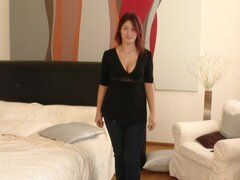 Hot casting with slender naked redhead Nanny