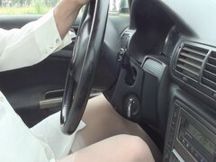 Pantyhose Car and cumshot