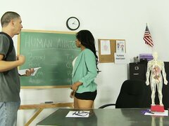 Teasing ebony MILF gets her hairy pussy toyed by a horny student