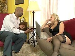 Luscious blonde babe gets fucked by big black cock