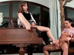 Lusty light lesbian play with foot fun