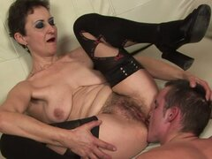 Amazing Blowjob and Hardcore Action with Short-Haired Brunette Granny