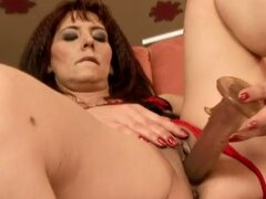 Horny mom gets huge dildo and sweet young cock