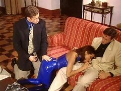 Chick In Blue Latex Loving Two Cocks