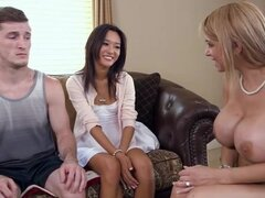 Sexy Alyssa lets her stepson fuck his gf Alina with her for a threesome