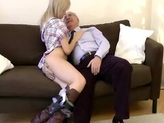 Young blonde spoiling a seniors cock