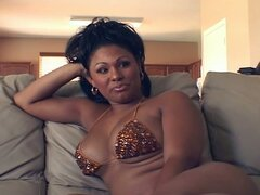Busty black tranny in hot solo