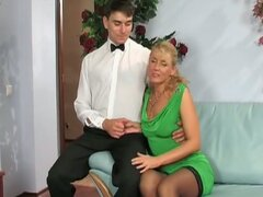 Horny blonde bitrch seduces this young stud