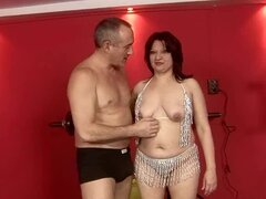 Lustful granny Ximena gets her holes fingered and fucked with dildos