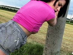 Chubby nympho gets fucked raw in the middle of an open field