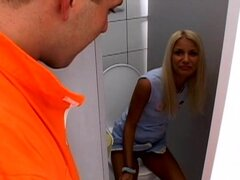 Blowjob in the toilet by sexy Eve Jordan