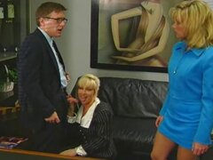 Hot blondes take on their boss at work and trade off blowing and fucking