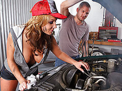 Nikki's the hot, busty mechanic who works wonders under the hood. Scott pulls into her garage with some truck troubles. After fixing the fan belt and changing the oil, Nikki takes her cash, says goodbye to Scott and jumps into the shower, but Scott sticks