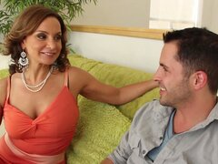 Cougar slut Rebecca Bardoux seduces the guy...