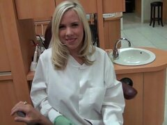 Dentist Britney Beth gives her patient a prick sucking