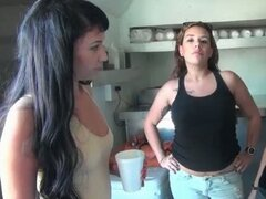 Teen amateur babes simulating a blowjob in group for cash