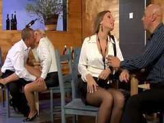 Piss: Guy pisses on a pretty secretary