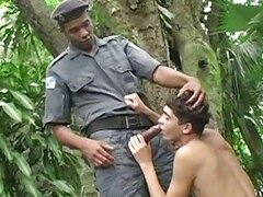 Black guy in uniform caught a twink and made him swallow his rod