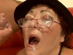 Slutty granny Kati gets her shaved pussy toyed and pounded