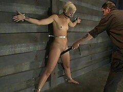 Skinny Blonde Is Hog Tied And Tortured With Electricity