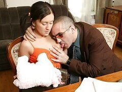 Sly sexy chick goes down on her lusty professor to pass a very important exam.