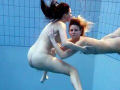 Young naked ladies in the pool are cute