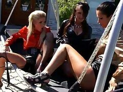 Three Hot Lesbians Explore Their Wet Pussies Outdoors