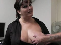 BBW inside pantyhoses rides his huge rod