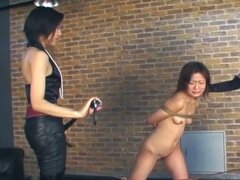 Hot asian chick is tied in ropes by her two rigid masters !