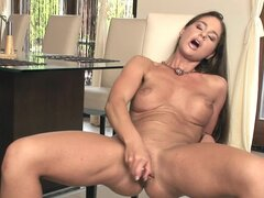Fit brunette model Cathy has dildo sex