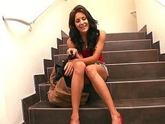 Latina sweetheart strips off on the stairs and gives a hot blowjob