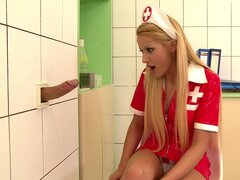 Shy nurse likes to taste sweet jizz