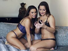 Hot lesbos masturbating one another